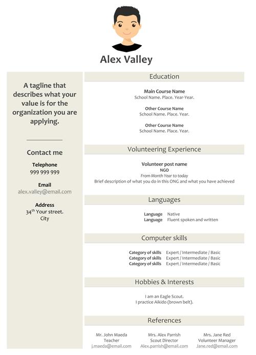 alex valley free cv templates