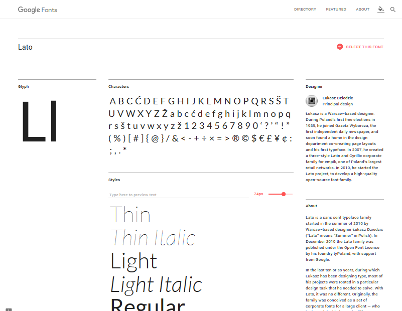 Fonts Detail Page