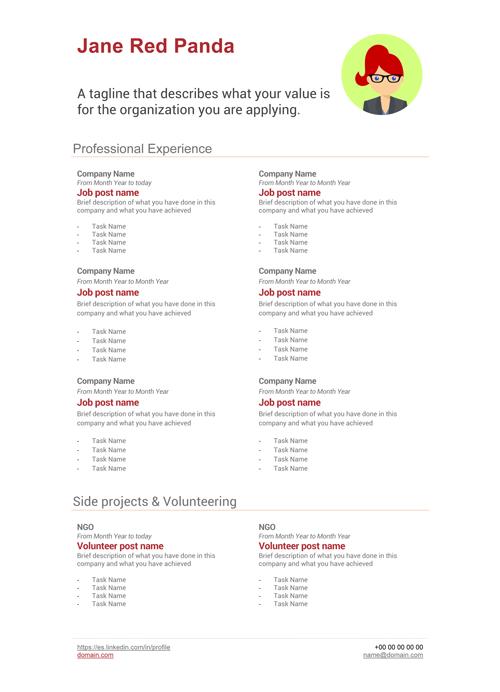 jane red panda free cv templates