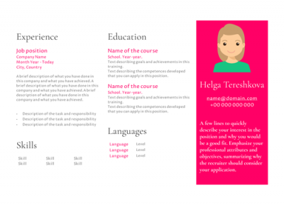 Model Template Resume for Helga Tereshkova
