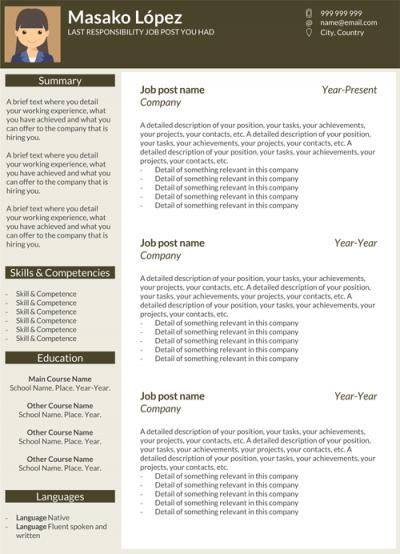 Resume template - Masako Lopez
