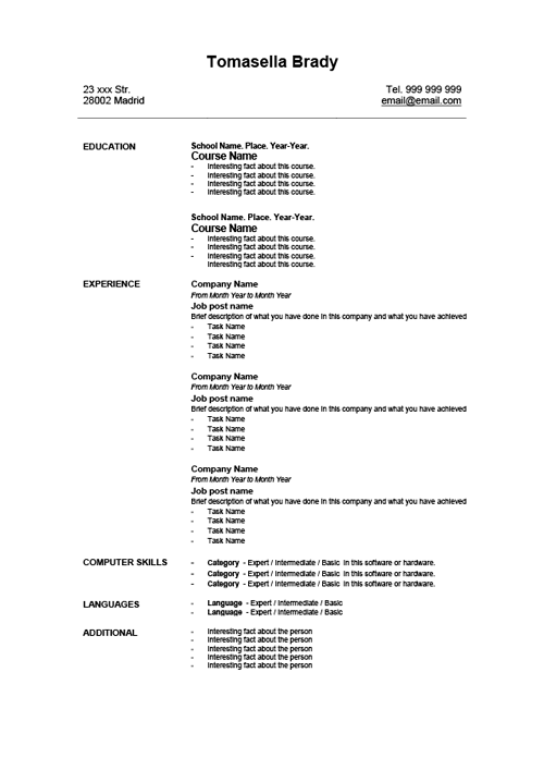 Free Resume Template In Word 16 Ideascv